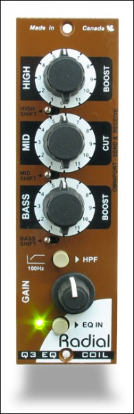 Radial Q3 Coil EQ 500 3-Band Coil-Equalizer Modul